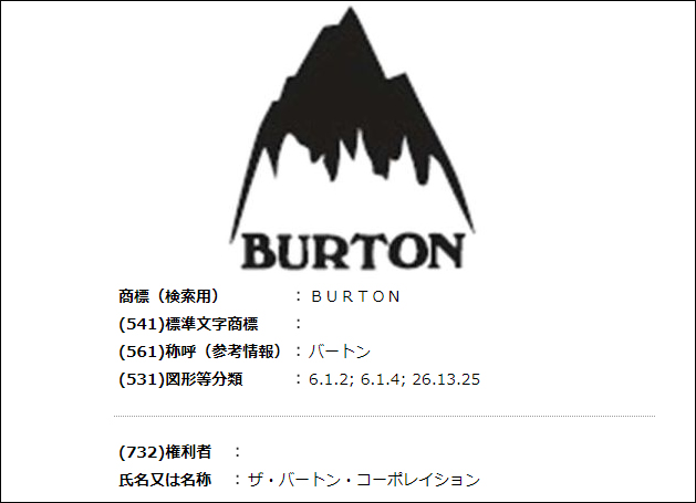 BURTONの商標
