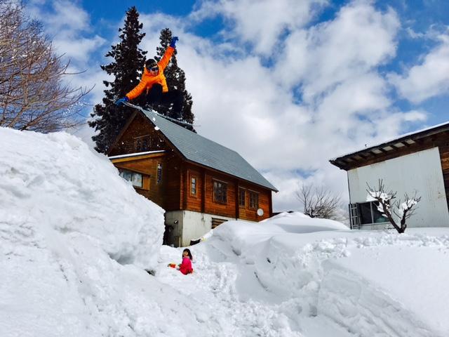 自宅のロード超えスノーボード