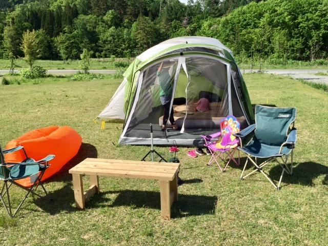エアークッションのキャンプ使用例