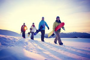 People Snowboard Winter Sport Friendship