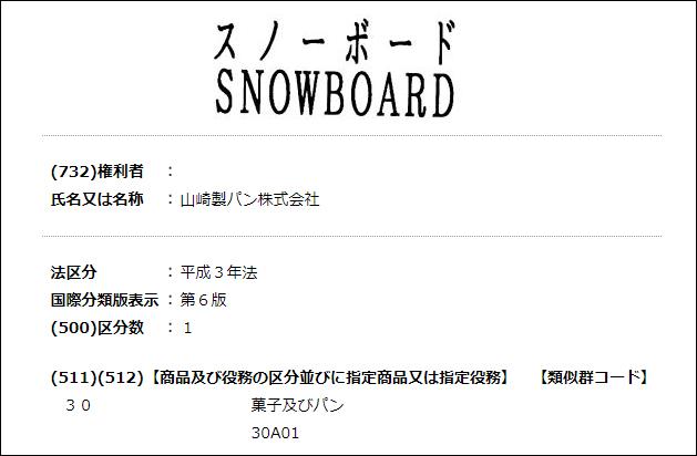 スノーボードの商標