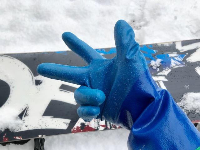 青色の防寒テムレス